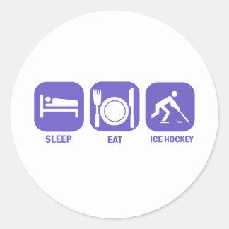 eat sleep ice hockey round sticker