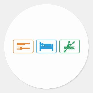Eat sleep kayak classic round sticker