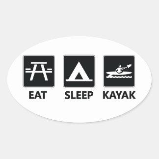Eat Sleep Kayak Oval Sticker