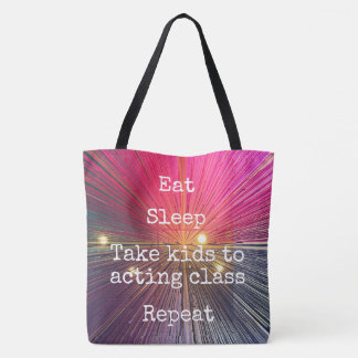"""""""Eat. Sleep. Kids to Acting. Repeat."""" quote pink Tote Bag"""