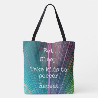 """Eat. Sleep. Kids to Soccer. Repeat."" quote teal Tote Bag"