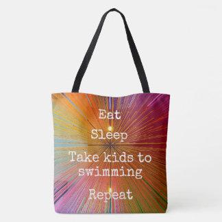 """Eat. Sleep. Kids to Swim. Repeat."" quote orange Tote Bag"
