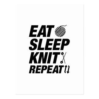 Eat Sleep Knit Repeat Postcard