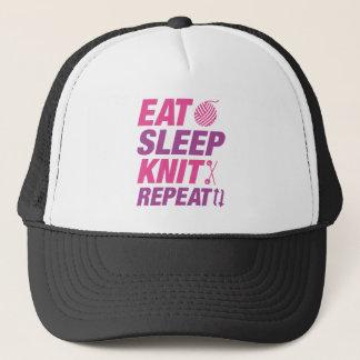 Eat Sleep Knit Repeat Trucker Hat