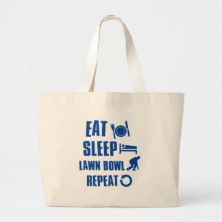 Eat sleep lawn bowl large tote bag