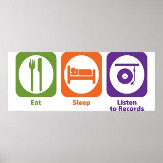 Eat Sleep Listen to Records Poster
