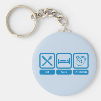 Eat, Sleep, LiveJournal Basic Round Button Key Ring