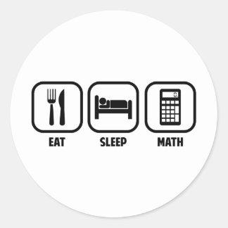 EAT, SLEEP, MATH ROUND STICKER