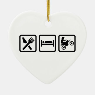 Eat sleep motocross ceramic heart decoration