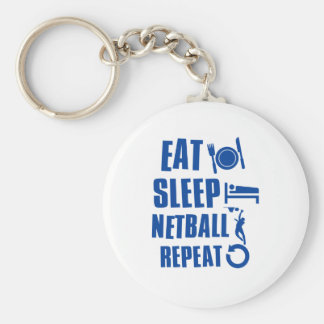 Eat sleep Netball Basic Round Button Key Ring