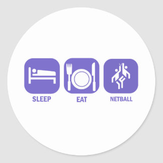 Eat Sleep Netball Classic Round Sticker