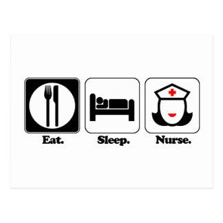 eat sleep nurse postcard