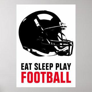 Eat Sleep Play Black & White Football Pop Art Poster