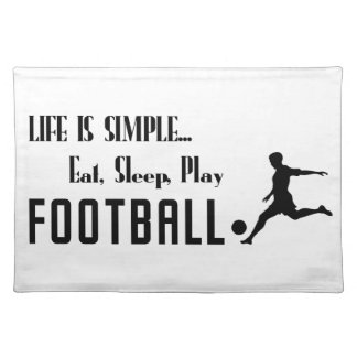 eat sleep play football placemat