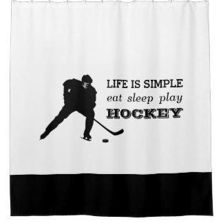Eat Sleep Play Hockey Black White Hockey Player Shower Curtain