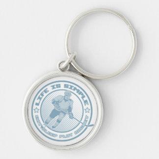 Eat Sleep Play Hockey Silver-Colored Round Key Ring