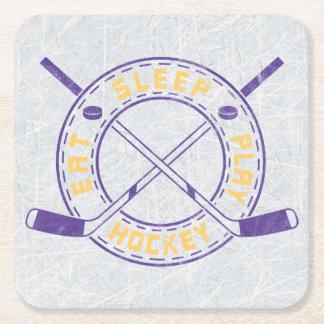 Eat Sleep Play Hockey Square Paper Coaster
