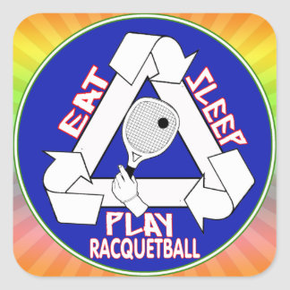 EAT, SLEEP, PLAY RACQUETBALL - REPEAT SQUARE STICKER