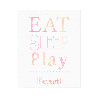 Eat Sleep Play Repeat Funny Kid Toddler Art Canvas Canvas Print