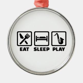 Eat Sleep Play Saxophone Christmas Ornaments