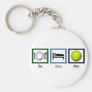Eat Sleep Play Tennis Basic Round Button Key Ring