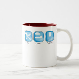 Eat Sleep Podcast Two-Tone Coffee Mug
