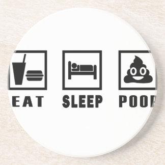 EAT SLEEP POOP BEVERAGE COASTERS