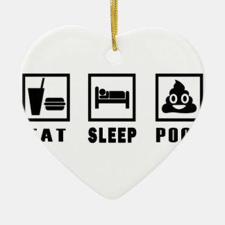 EAT SLEEP POOP CERAMIC ORNAMENT