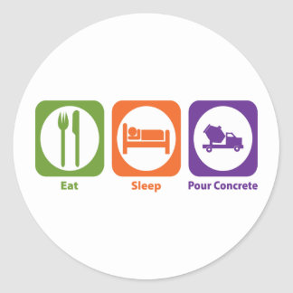 Eat Sleep Pour Concrete Classic Round Sticker