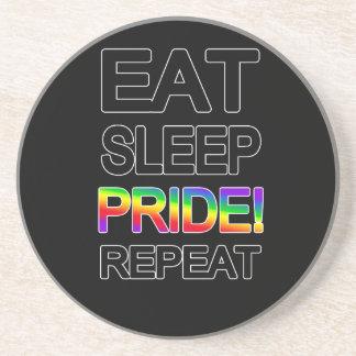 Eat sleep pride repeat beverage coaster