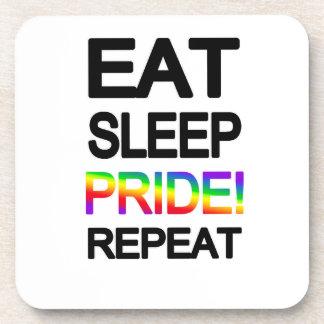 Eat sleep pride repeat beverage coasters