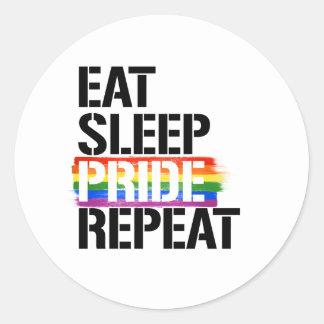 Eat Sleep Pride Repeat - - LGBTQ Rights -  Classic Round Sticker