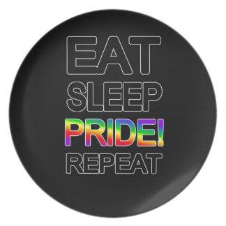 Eat sleep pride repeat plate