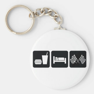Eat Sleep Race Basic Round Button Key Ring