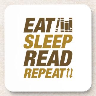 Eat Sleep Read Repeat Beverage Coaster