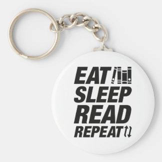 Eat Sleep Read Repeat Key Ring