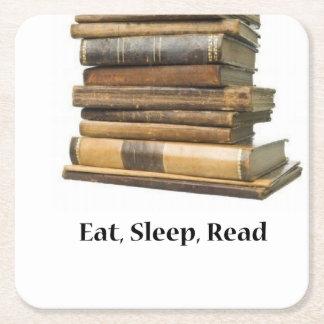 Eat Sleep Read Square Paper Coaster