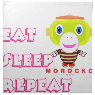 Eat Sleep Repeat-Cute Monkey-Morocko Napkin