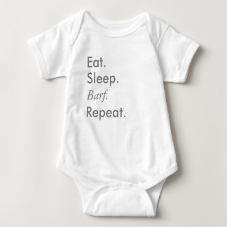 """Eat, Sleep, Repeat"" Series - Baby White Bodysuit"