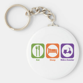 Eat Sleep Ride a Scooter Basic Round Button Key Ring