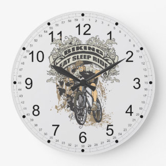 Eat, Sleep, Ride Biking Large Clock