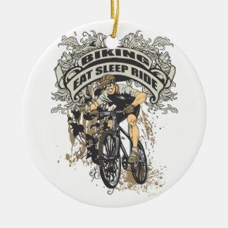 Eat, Sleep, Ride Biking Round Ceramic Decoration
