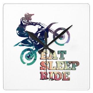 Eat Sleep Ride Dirt Bike Square Wall Clock