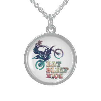 Eat Sleep Ride Dirt Bike Sterling Silver Necklace