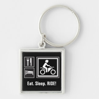Eat. Sleep. RIDE! Silver-Colored Square Key Ring