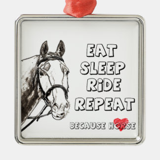 Eat Sleep Ride Repeat Metal Ornament