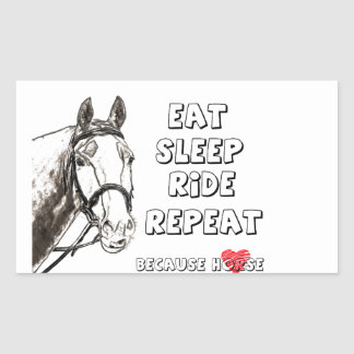 Eat Sleep Ride Repeat Rectangular Sticker