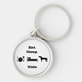 Eat. Sleep. Ride. Silver-Colored Round Key Ring