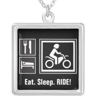 Eat. Sleep. RIDE! Square Pendant Necklace