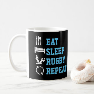 Eat Sleep Rugby Repeat Funny Sport Coffee Mug